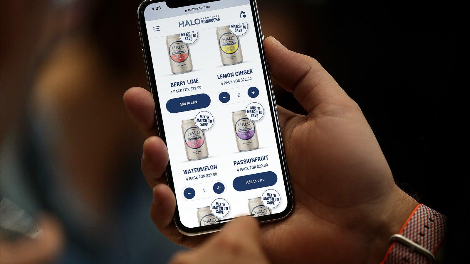 Halo Alcoholic Kombucha | product page on mobile | Devotion