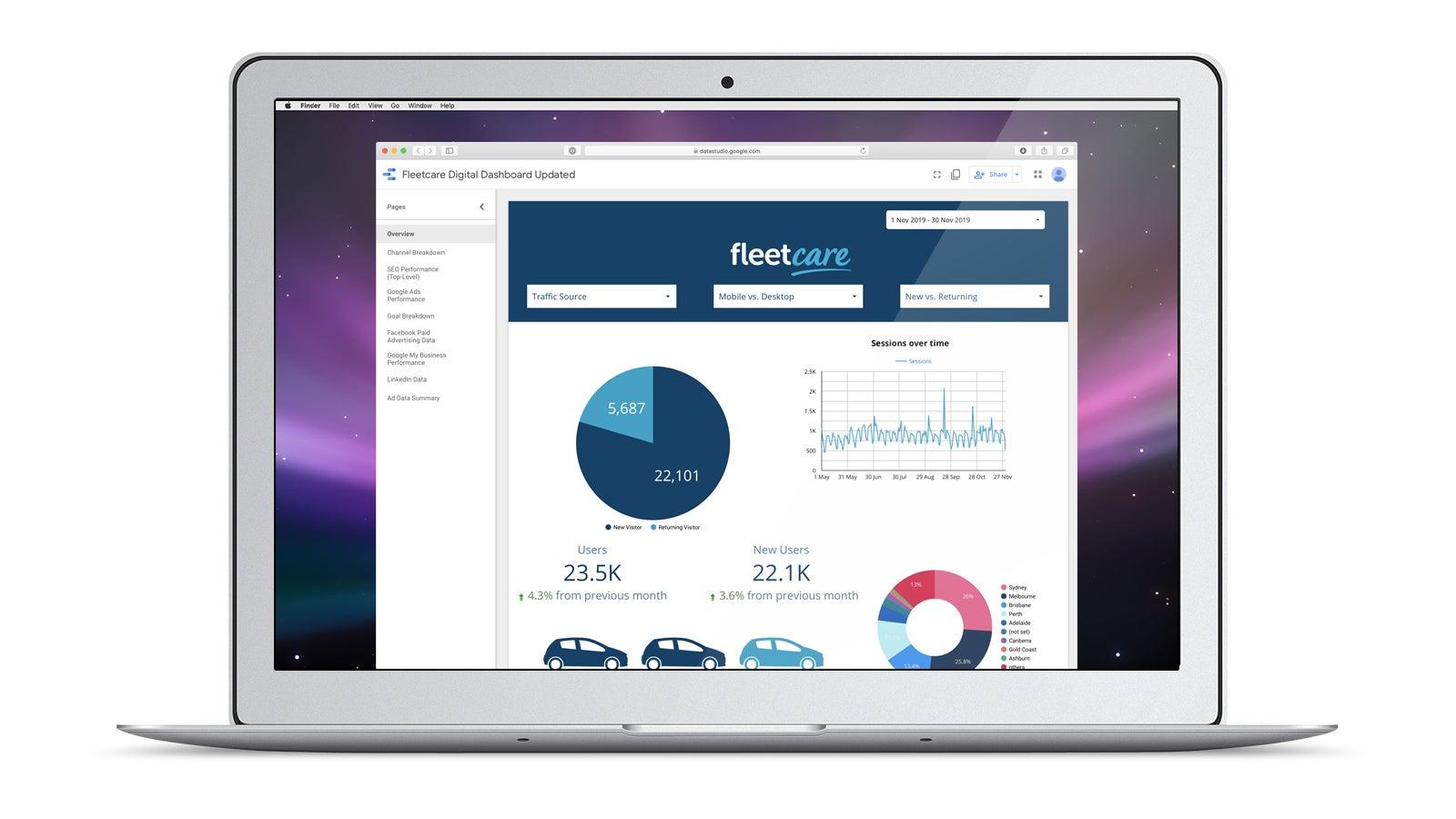 Fleetcare | Fleetcare digital marketing analytics dashboard on laptop | Devotion