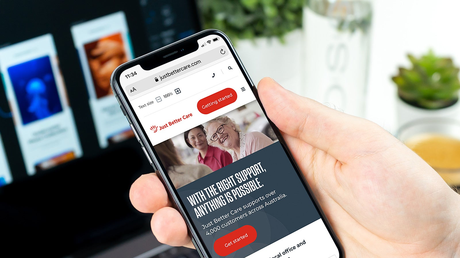 Just Better Care   website home page displayed on smartphone   Devotion