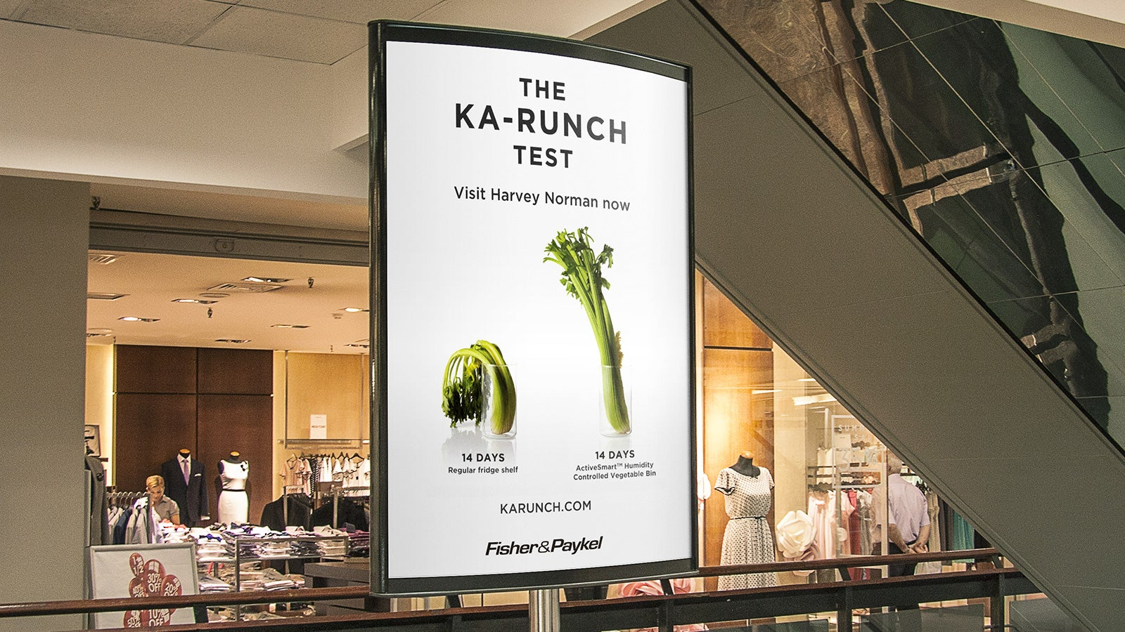 Fisher & Paykel | Ka-Runch Test marketing poster in shopping centre | Devotion