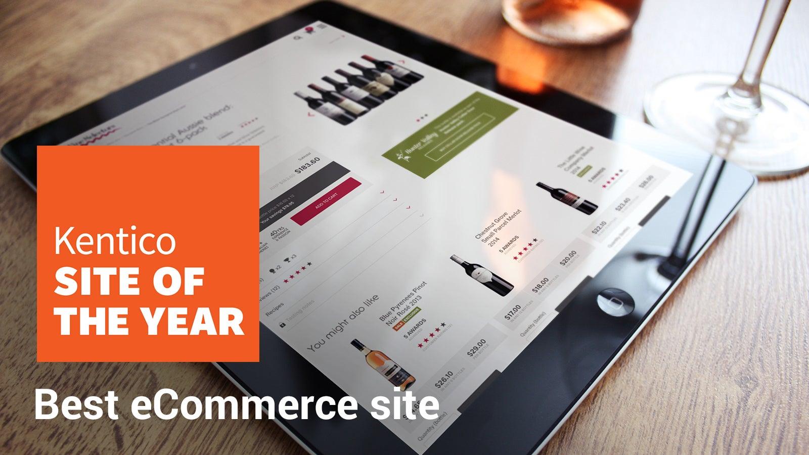Wine Selectors | Kentico Site of the Year Best eCommerce Site award over Wine Selectors website on iPad | Devotion