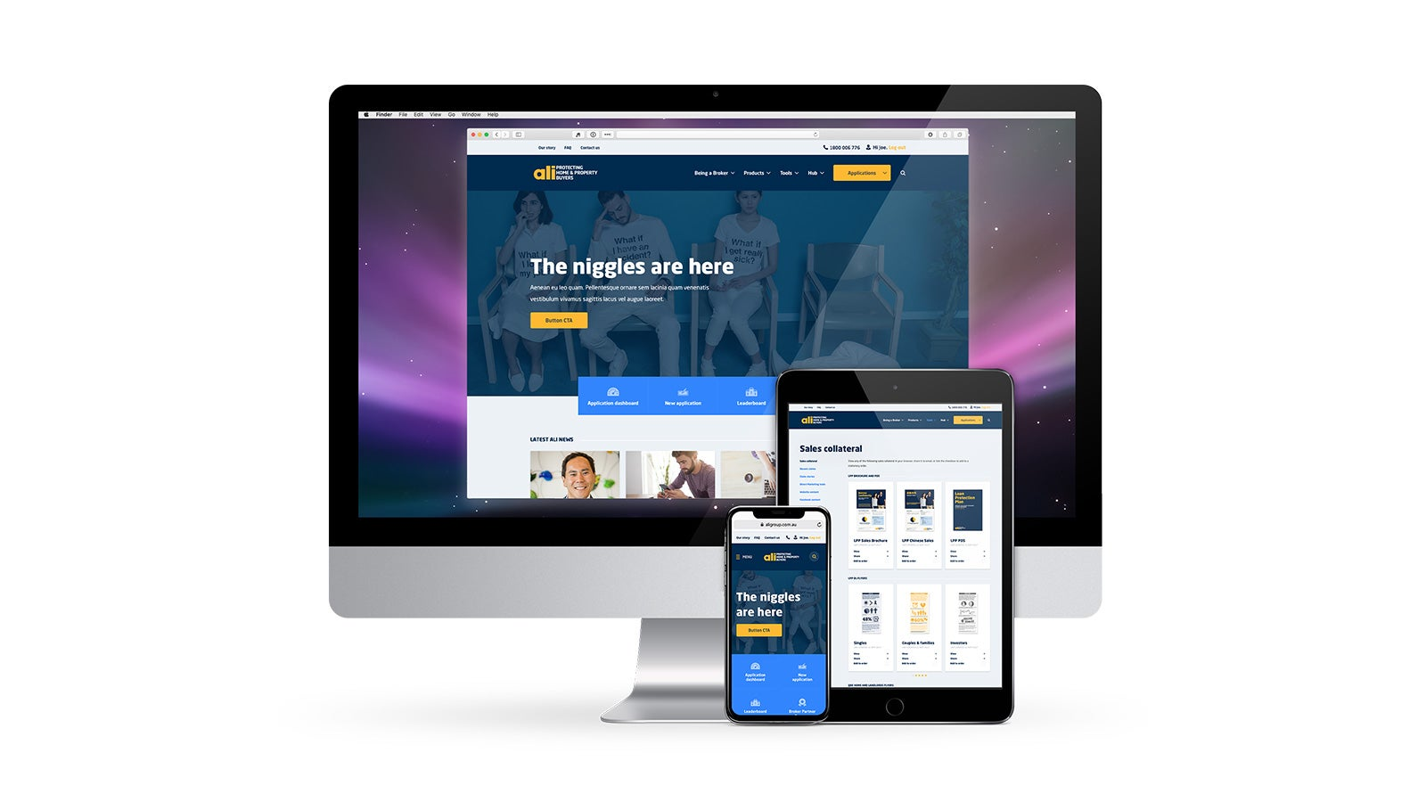 ALI Group | responsive web design on desktop, tablet and mobile | Devotion
