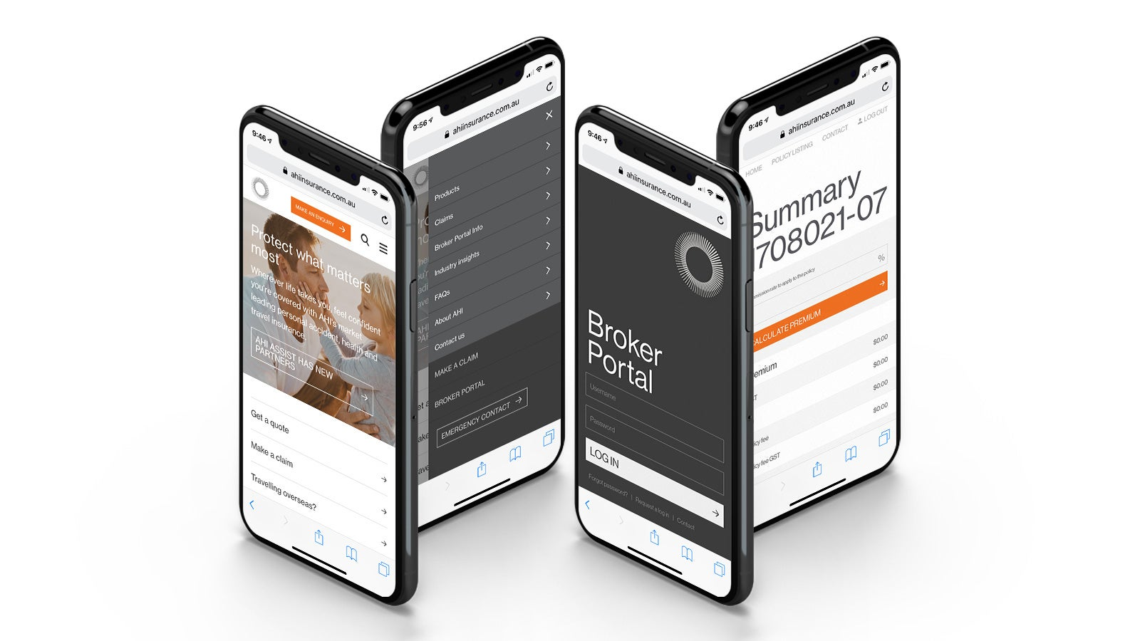 AHI   four website pages displayed on iPhones   Devotion