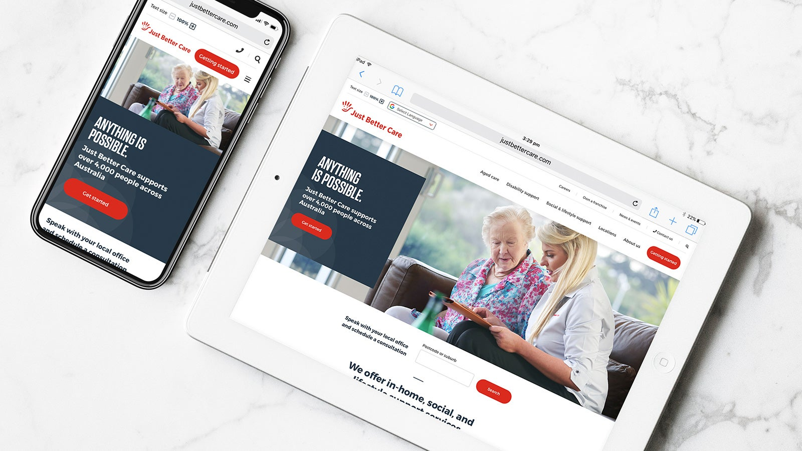 Just Better Care   responsive website homepage on tablet and smartphone   Devotion