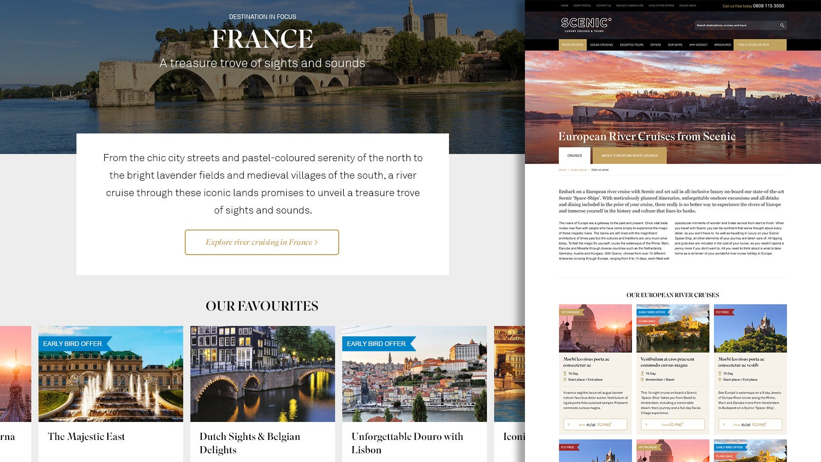 Scenic | France 'Destination in Focus' website page and European River Cruise offerings page | Devotion