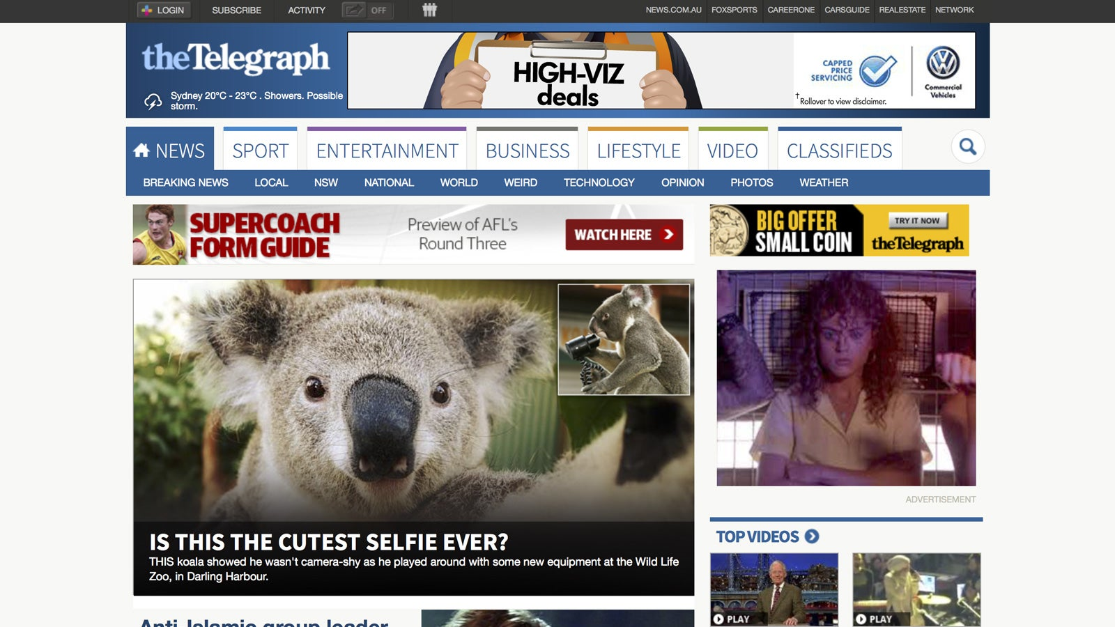 Sony   The Telegraph with the lead story about Koala selfies   Devotion