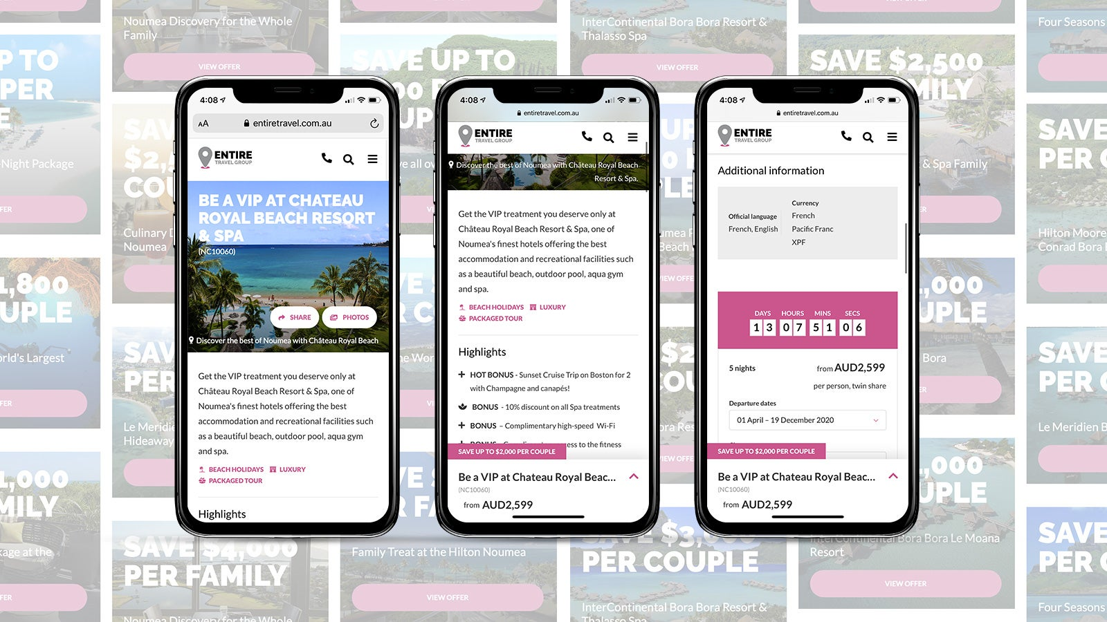 Entire Travel Group gallery image showing a variety of site images on 3 mobile phones, side by side