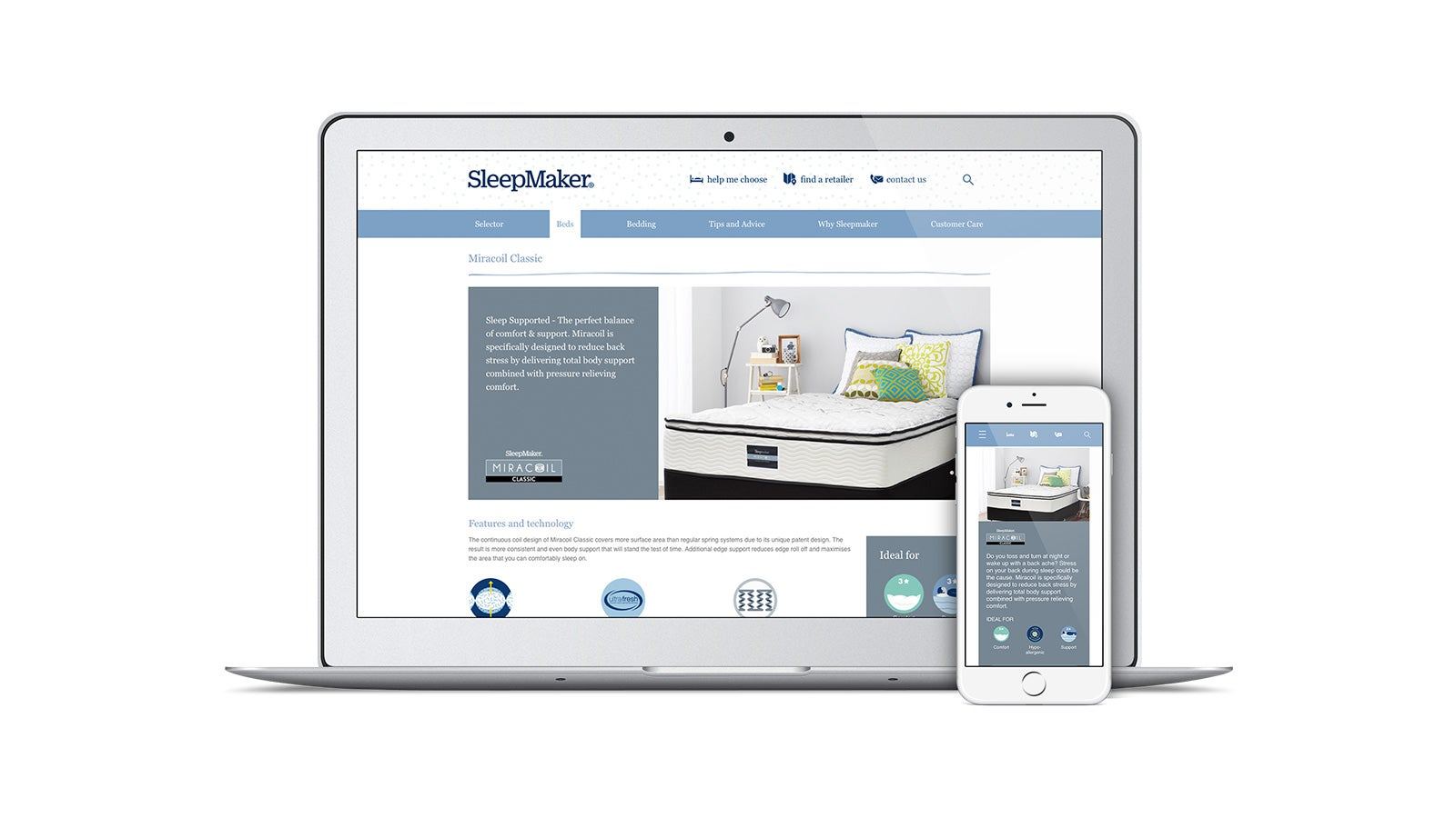 SleepMaker | responsive website on laptop and mobile | Devotion