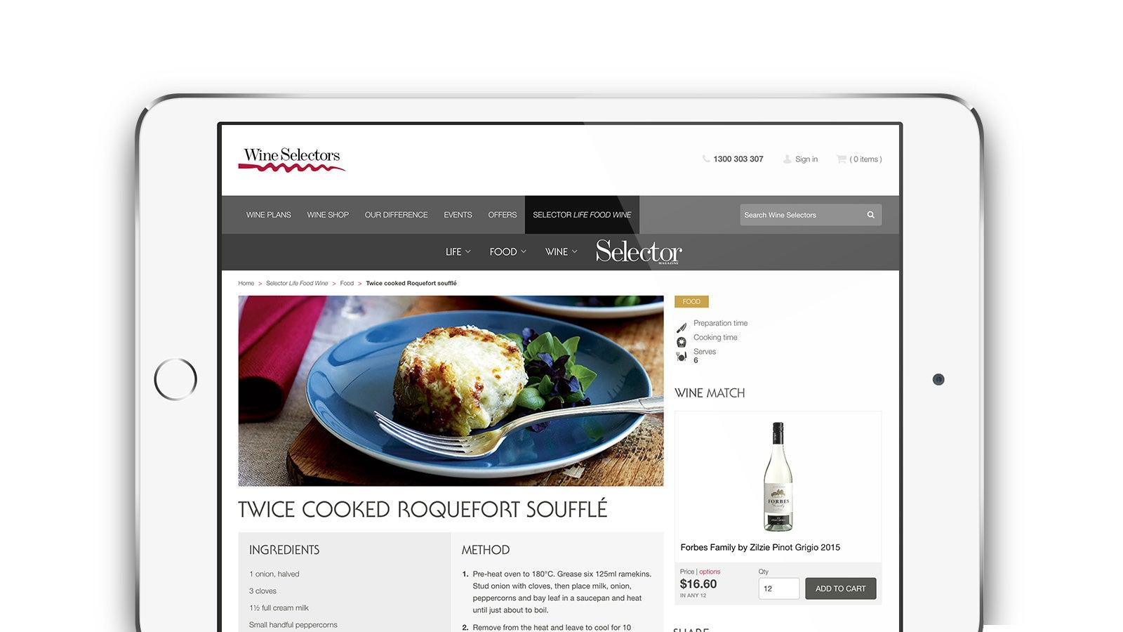 Wine Selectors | Recipe page on iPad | Devotion