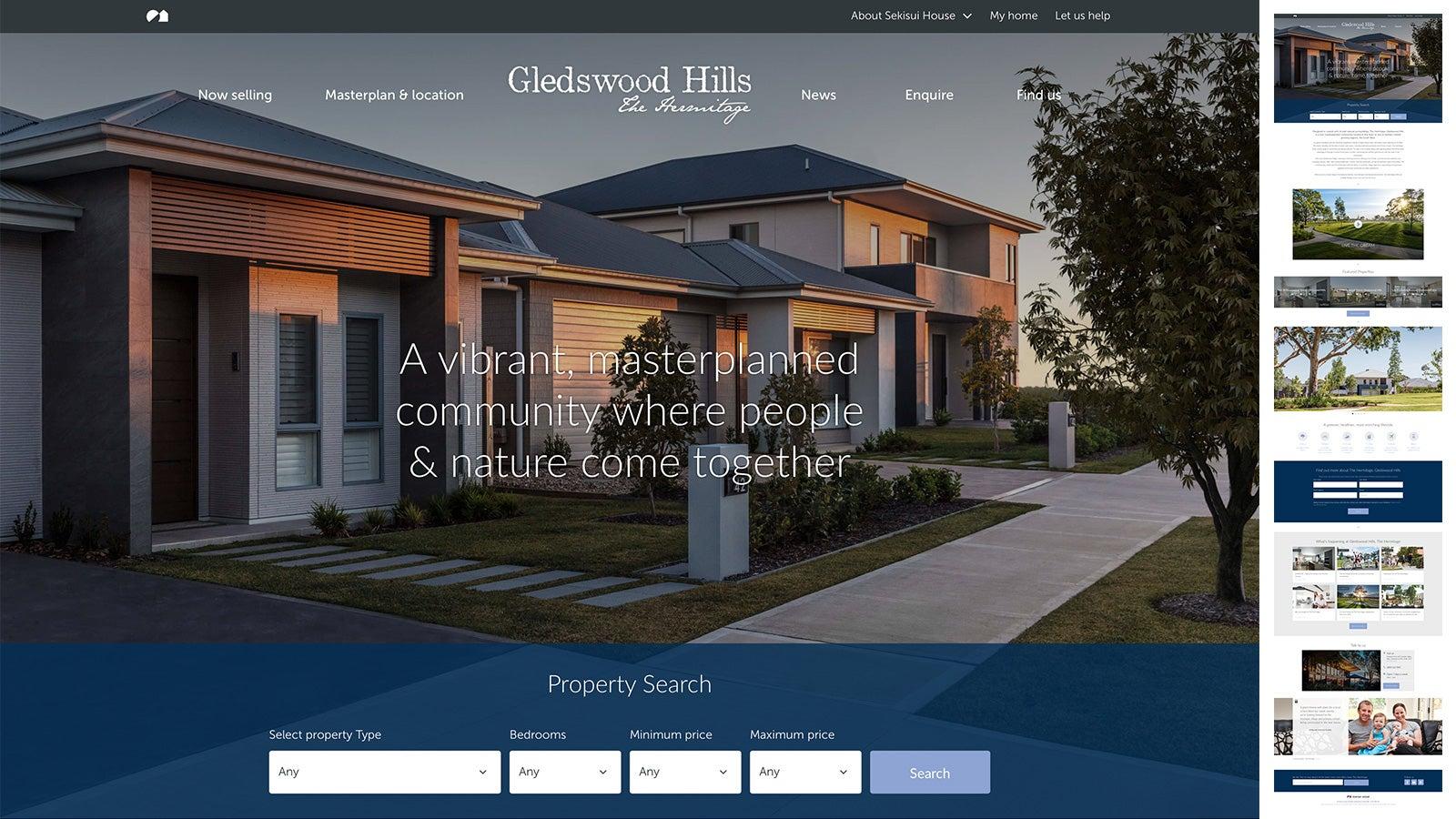 Sekisui House   Gledswood Hills microsite homepage    Devotion