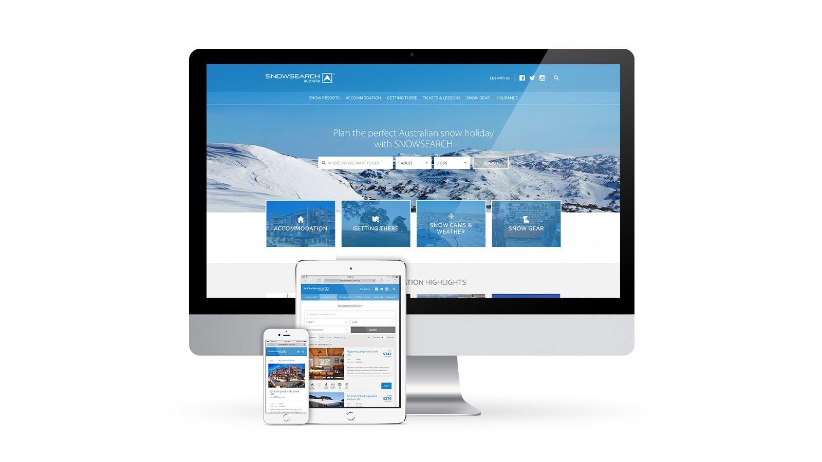 Snowsearch | responsive website design on desktop, tablet and mobile | Devotion