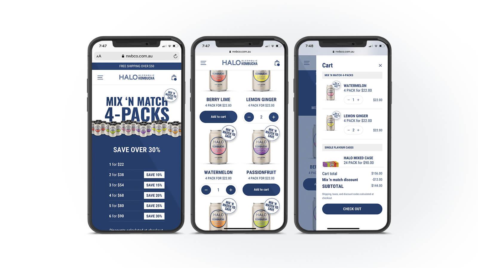 Halo Alcoholic Kombucha | Mobile add to cart process  | Devotion