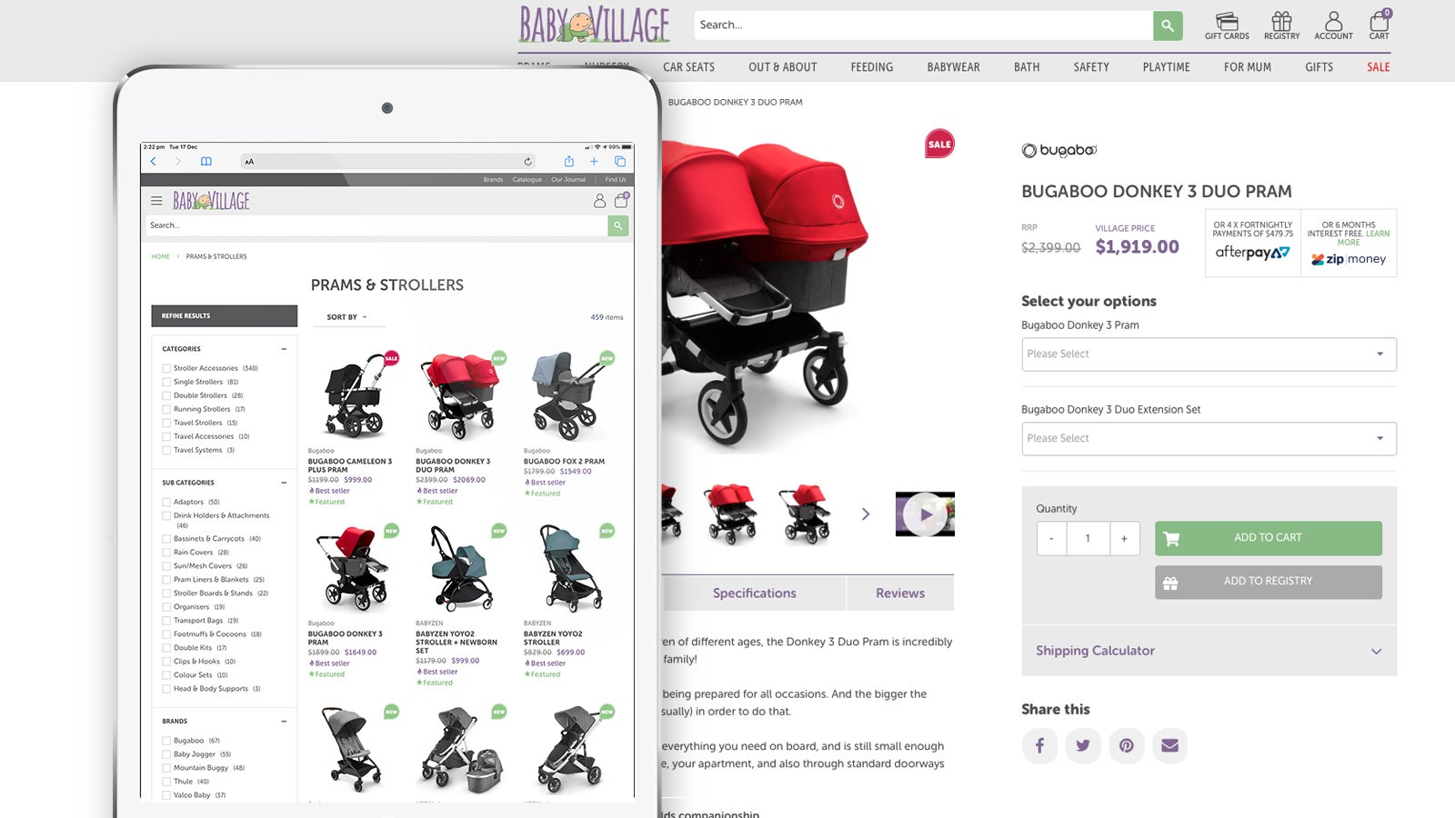 Baby Village | eCommerce website shop and product pages | Devotion