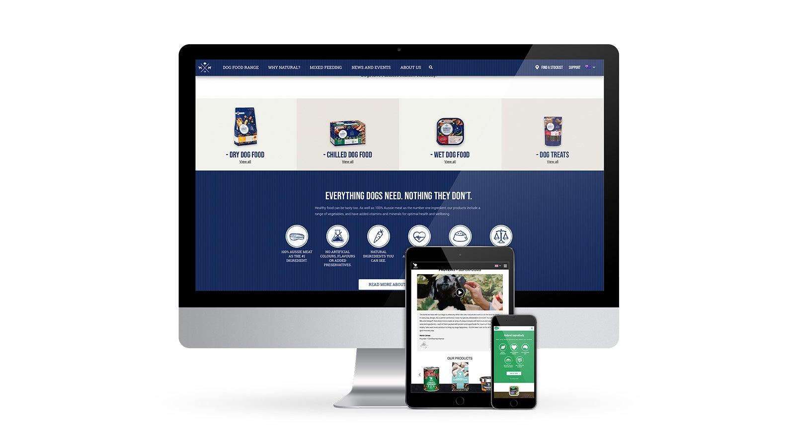 Real Pet Food Company   Famers market website on desktop, Billy + Margot website on tablet, Nature's Gift website on mobile   Devotion