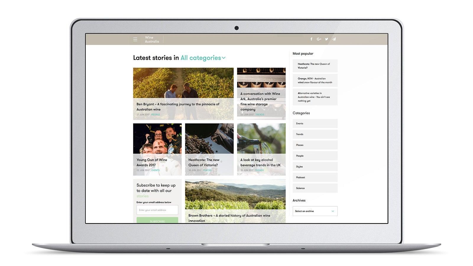 Wine Australia   Stories page on laptop   Devotion