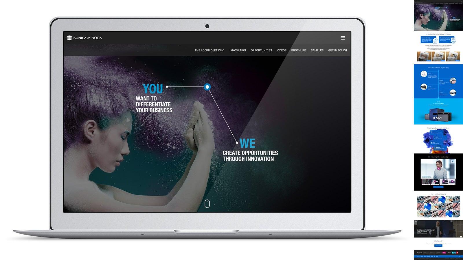 Konica Minolta | homepage on laptop | Devotion