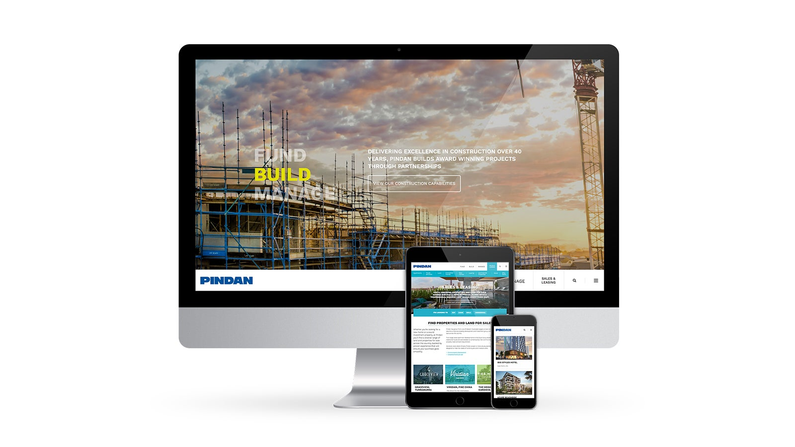 Pindan   responsive website homepage on desktop, tablet and mobile   Devotion
