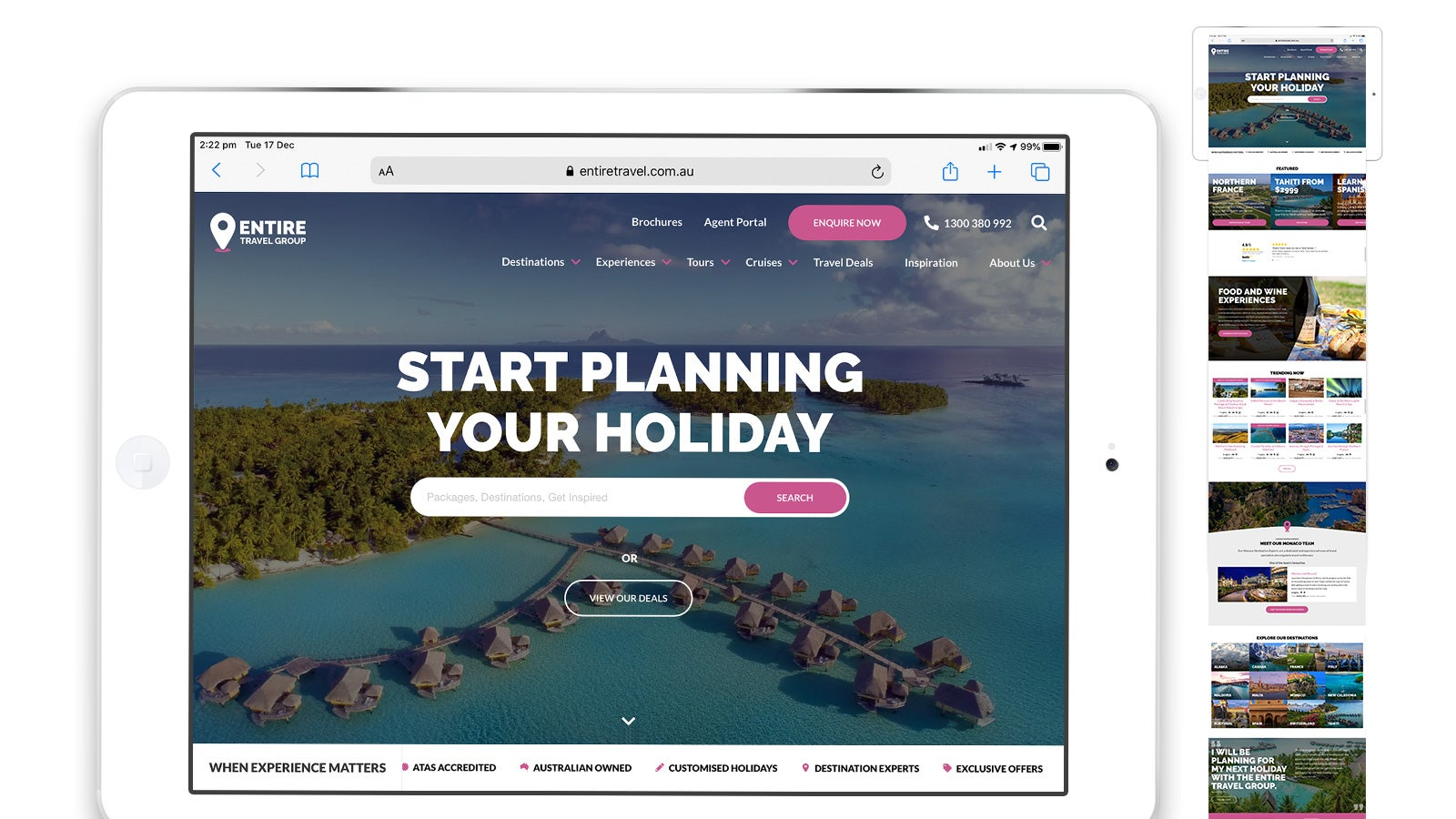 Entire Travel Group gallery image showing the website on an iPad