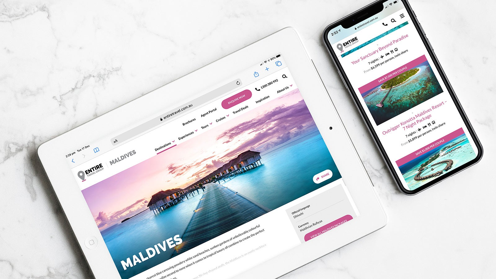 Entire Travel Group gallery image showing the Maldives on both an iPad and mobile phone
