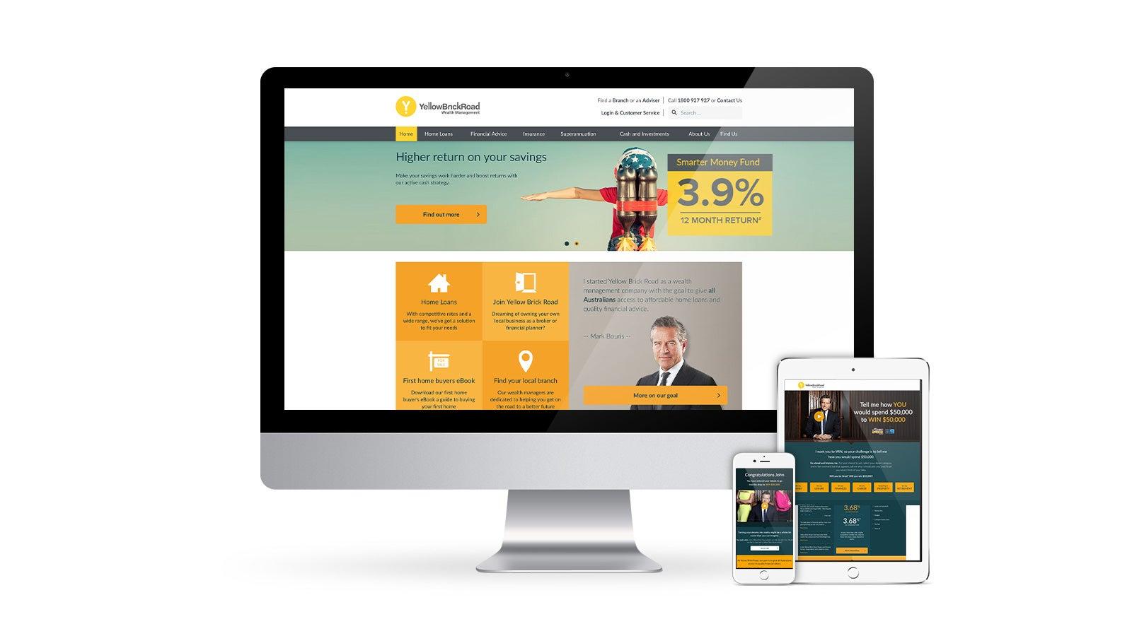 Yellow Brick Road | responsive website homepage displayed on desktop, tablet and mobile | Devotion