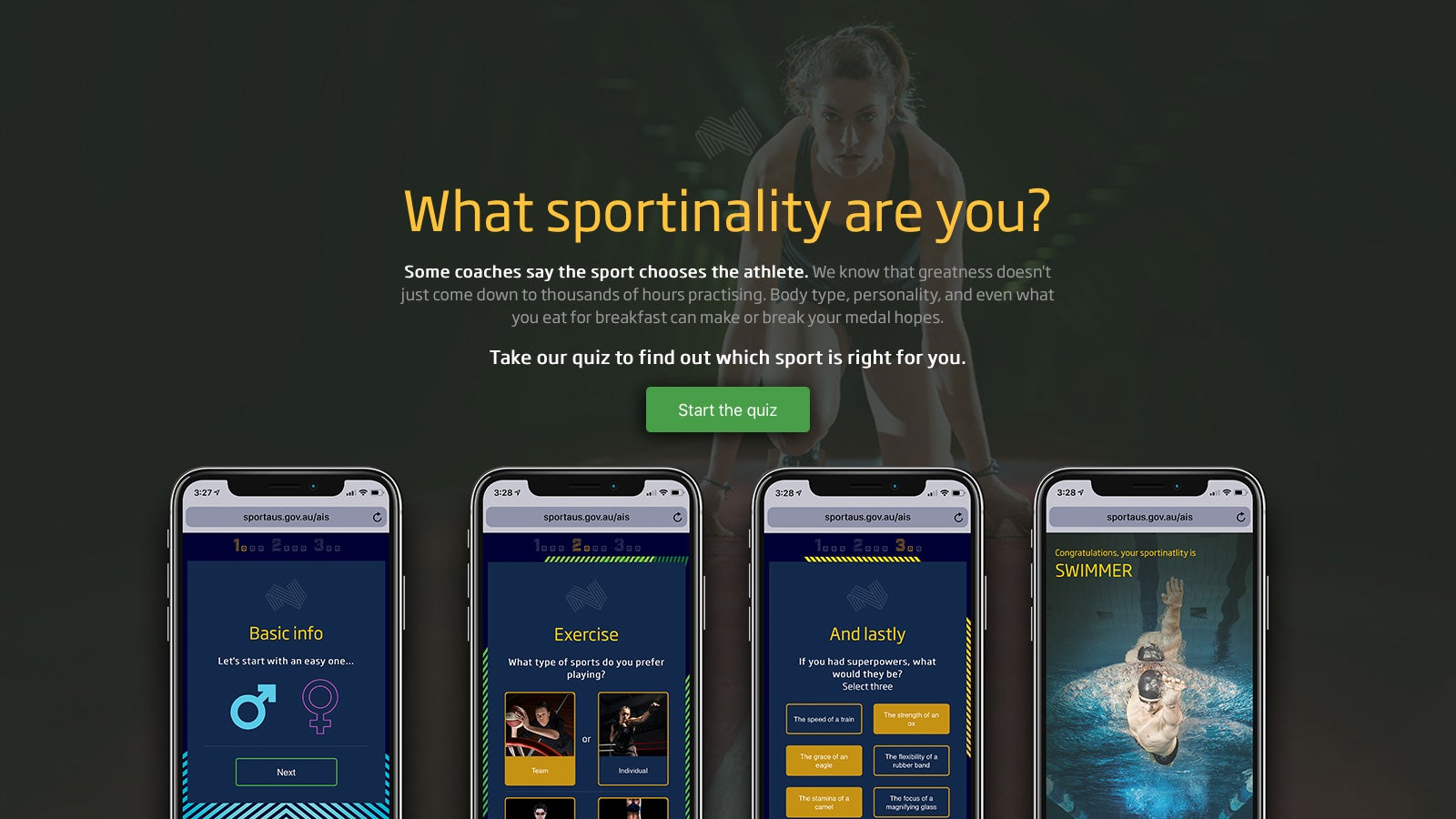 Australian Institute of Sport   'What sportinality are you?' quiz on mobile   Devotion
