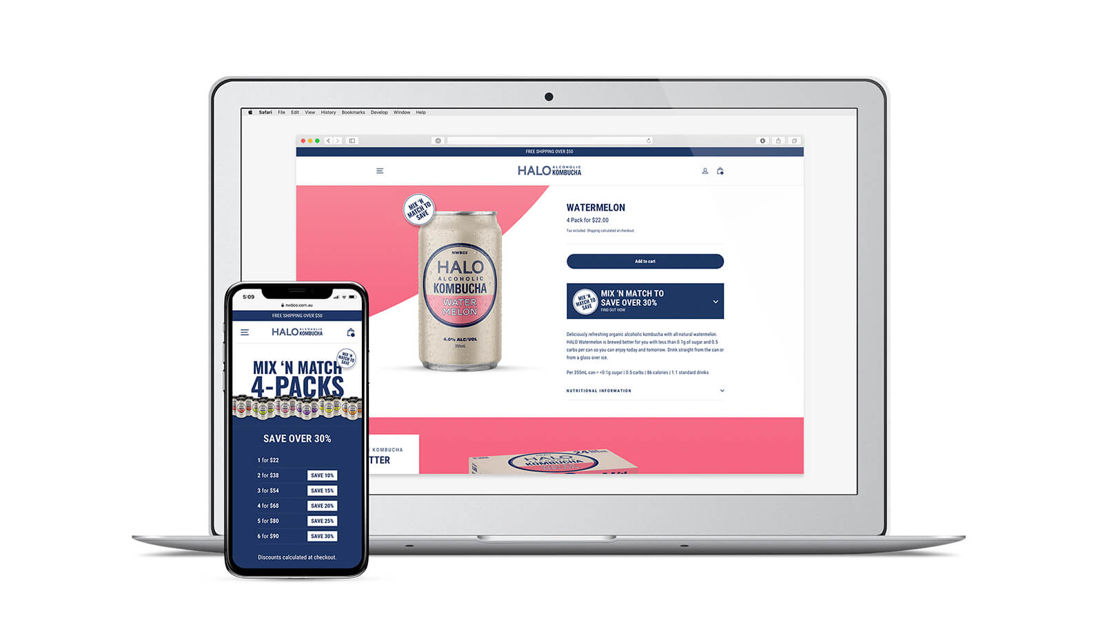 Halo Alcoholic Kombucha | responsive website - laptop and mobile showing product page | Devotion