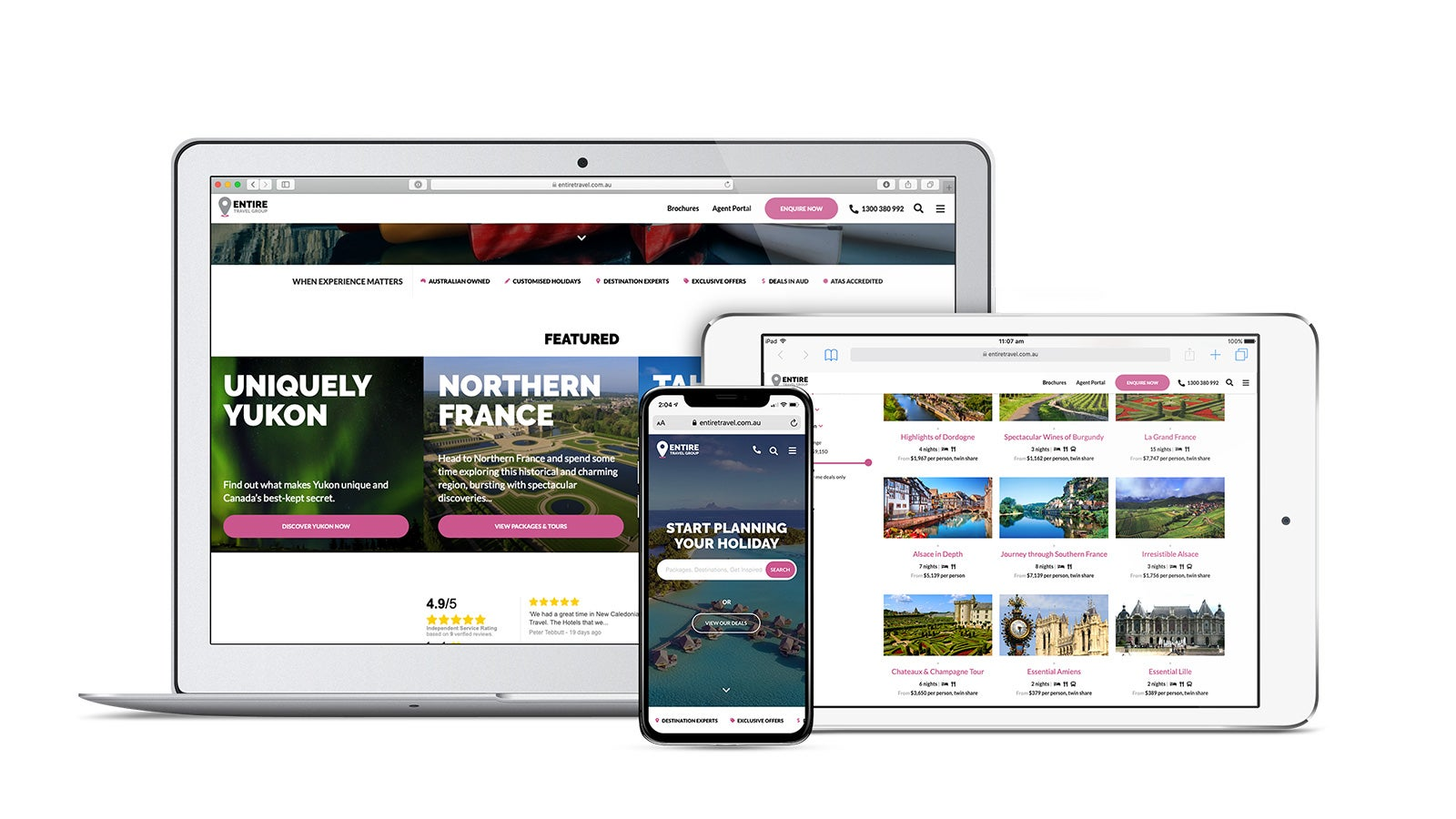 Entire Travel Group gallery image showing the website on a variety of devices.