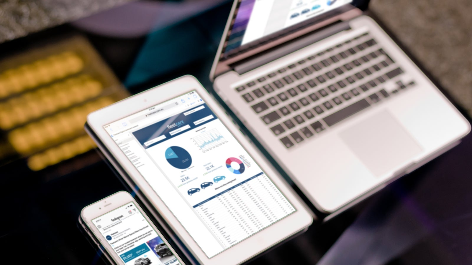 Fleetcare | Fleetcare marketing analytics dashboard on mobile, tablet and laptop | Devotion
