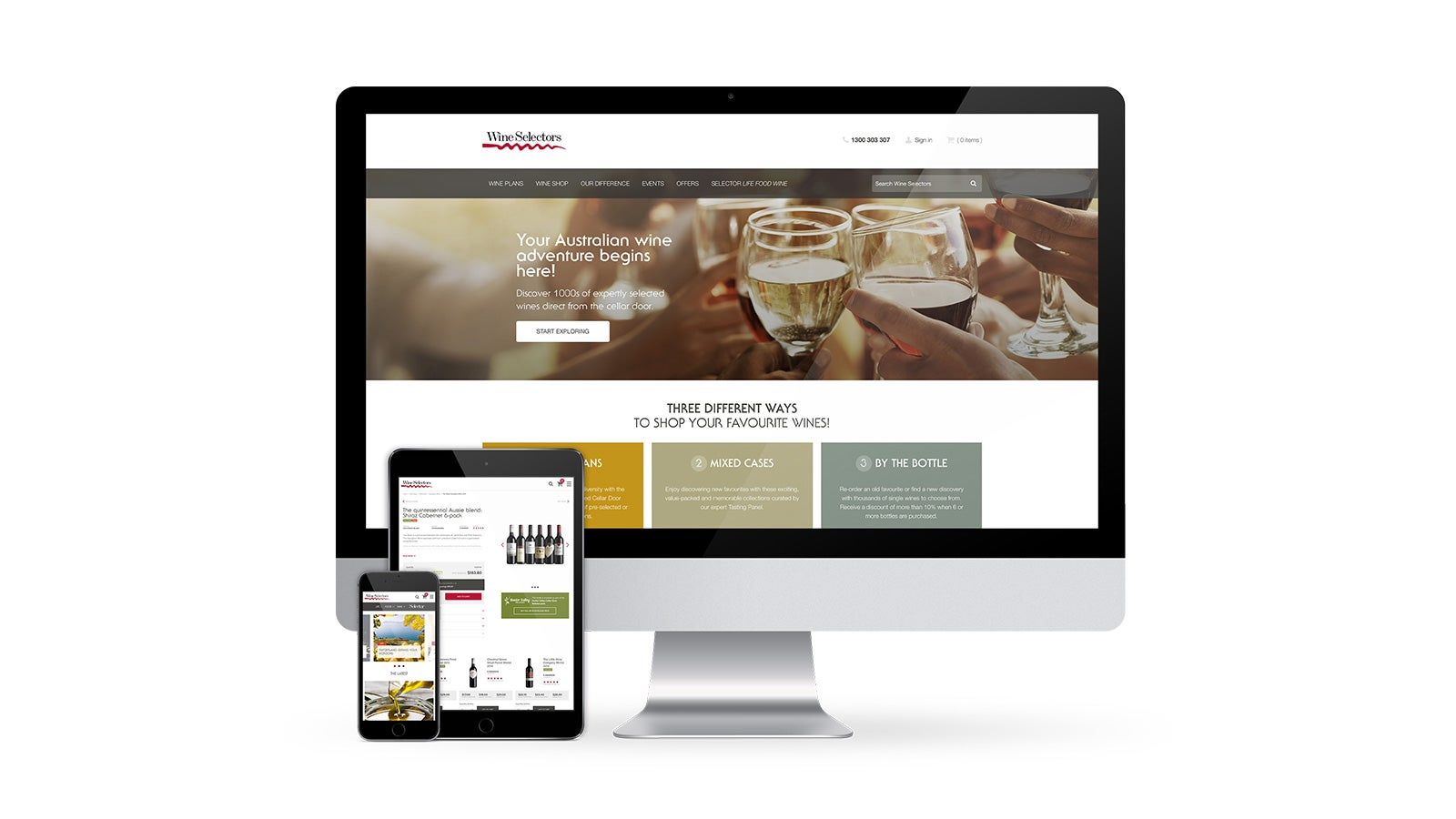 Wine Selectors | responsive website on desktop, tablet and mobile | Devotion