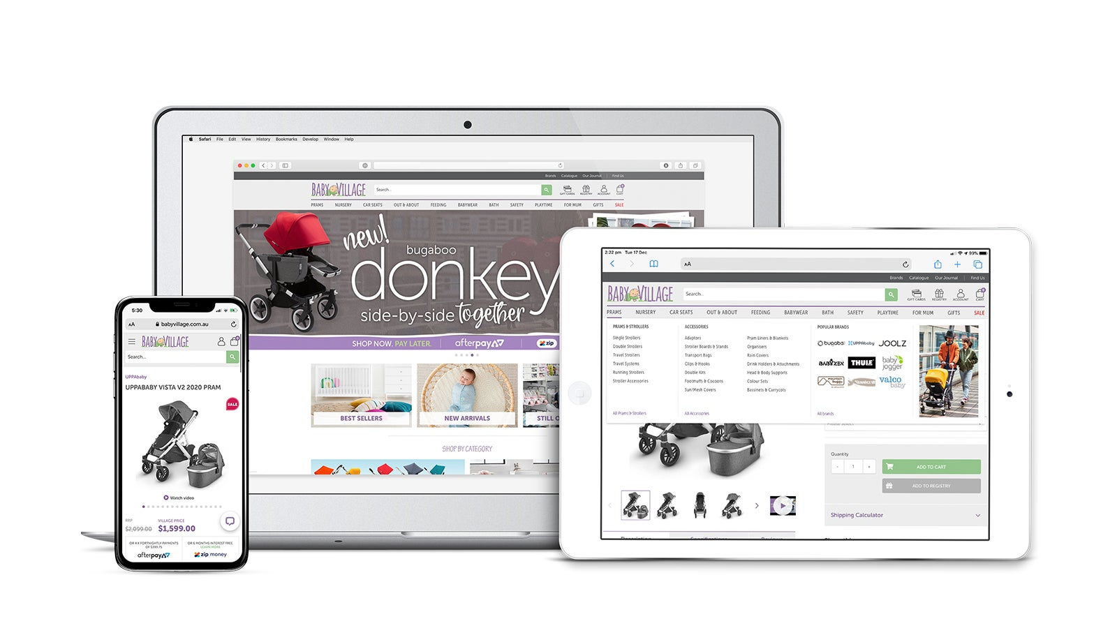 Baby Village | responsive website on laptop, tablet and mobile | Devotion