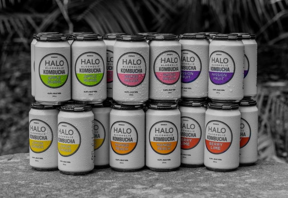 Halo Alcoholic Kombucha | Kombucha pouring out of a can | Devotion