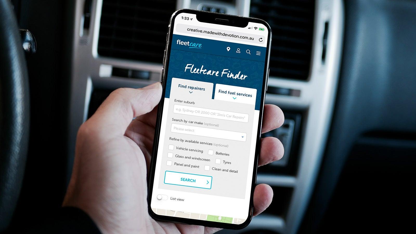Fleetcare   Fleetcare Finder on a smartphone   Devotion