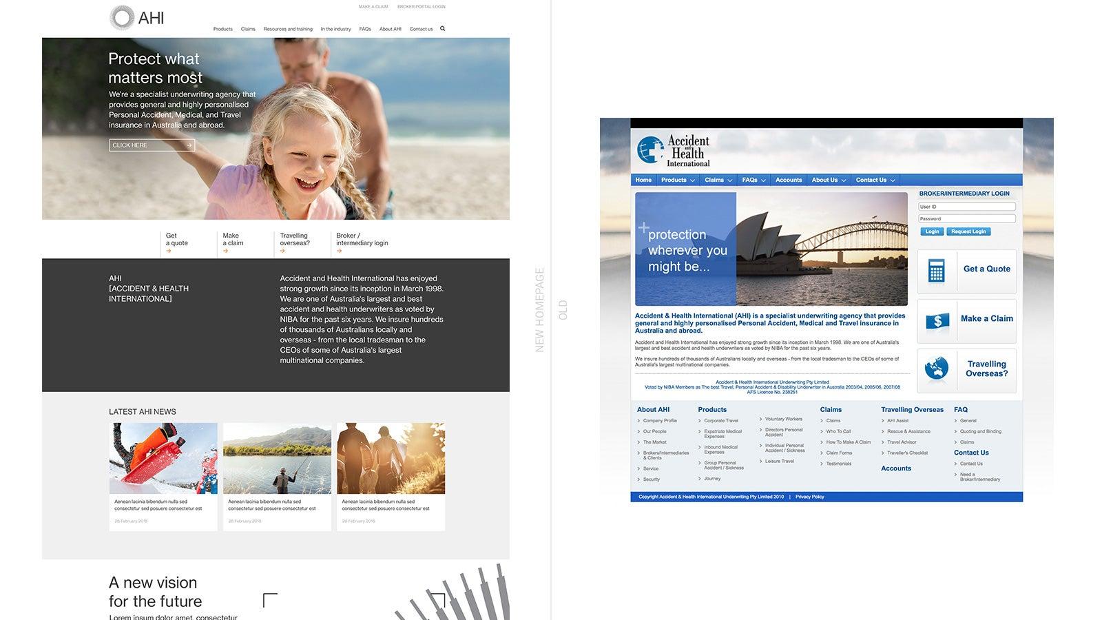 AHI   AHI new website homepage compared to old website homepage   Devotion