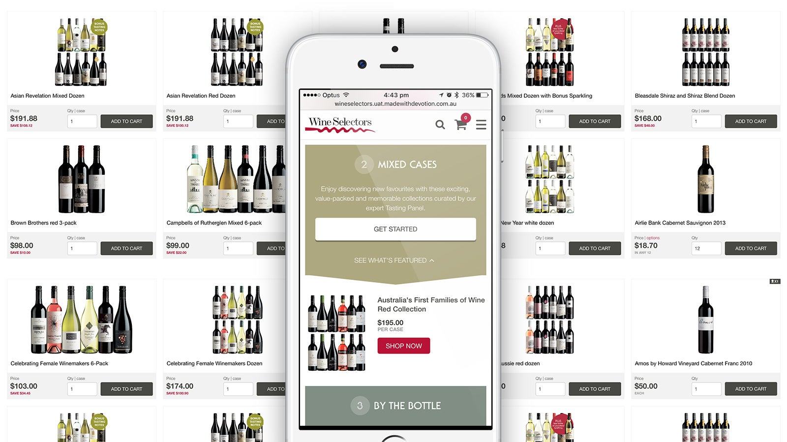 Wine Selectors | Mixed Cases product offerings behind an iPhone displaying the mobile website | Devotion