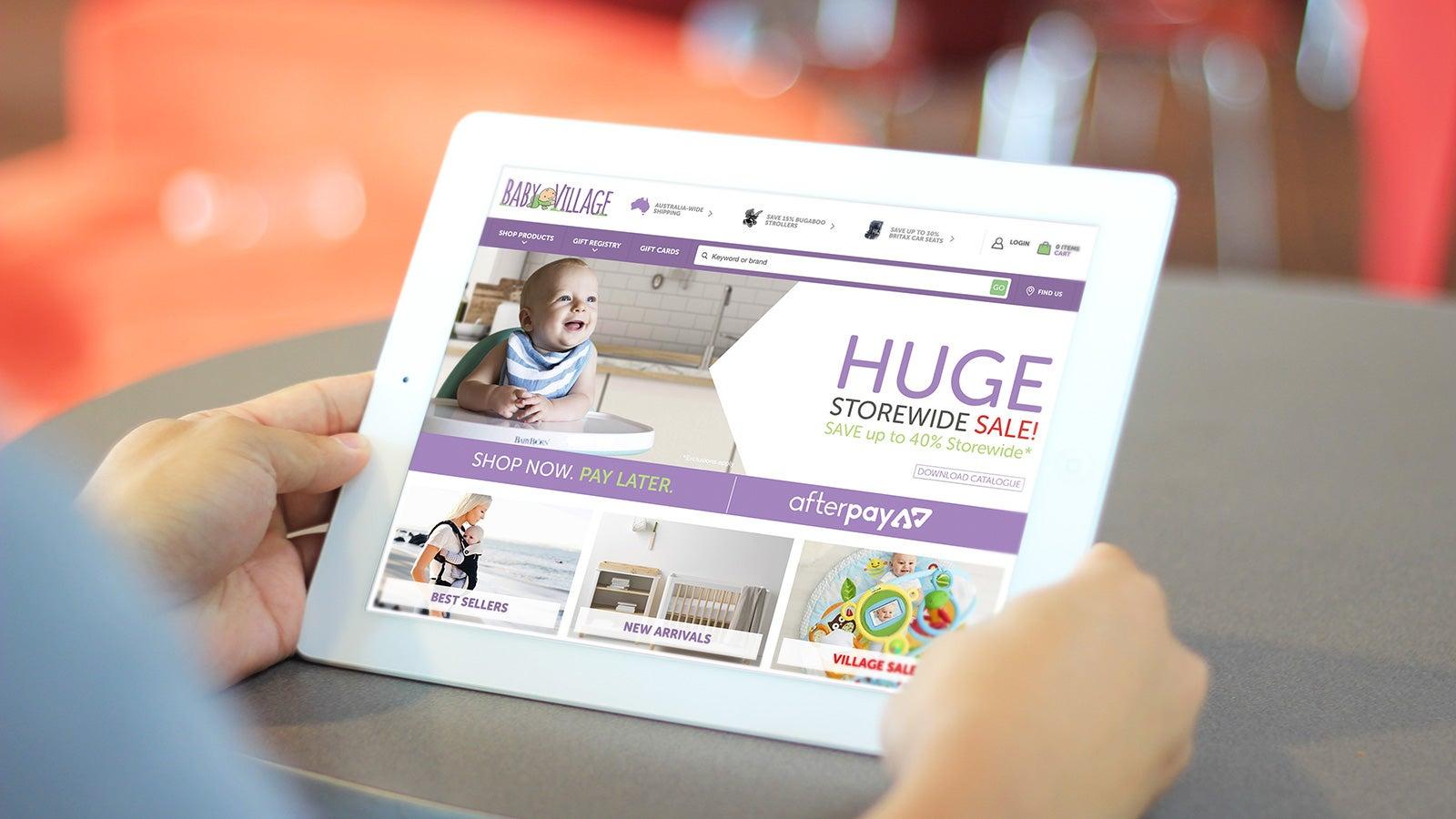 Baby Village | website homepage on tablet | Devotion