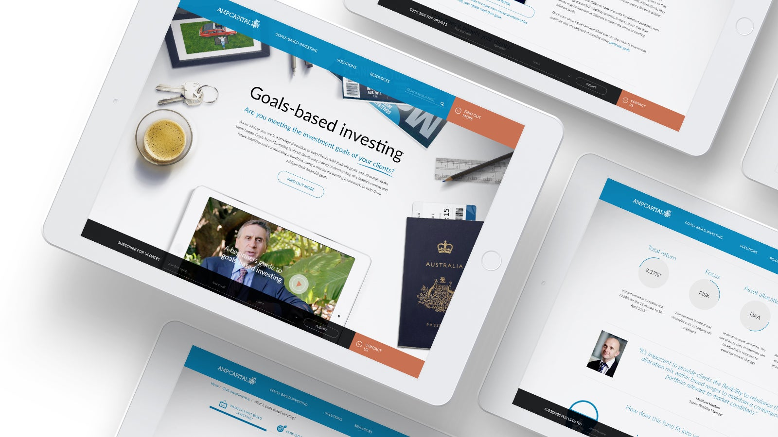 AMP   AMP Capital investing pages on tablet   Devotion