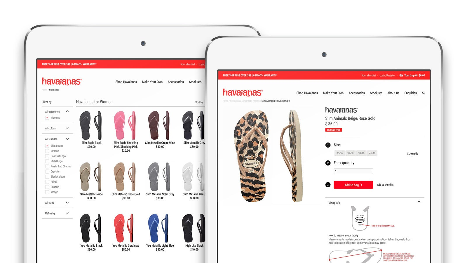 Havaianas | eCommerce category and product details page on tablet | Devotion