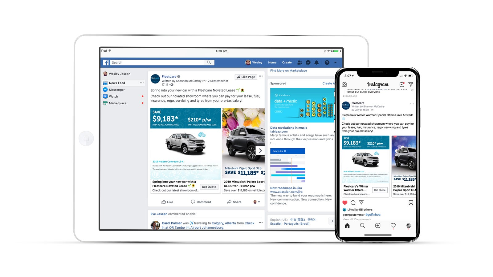 Fleetcare | Fleetcare social media pages on laptop and smartphone | Devotion