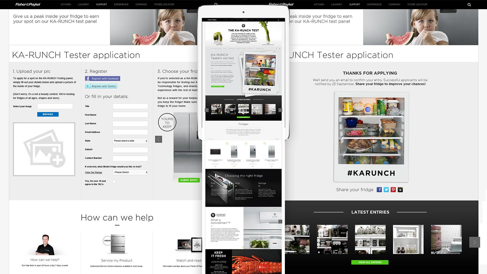 Fisher & Paykel | Ka-runch tester application form responsive design | Devotion