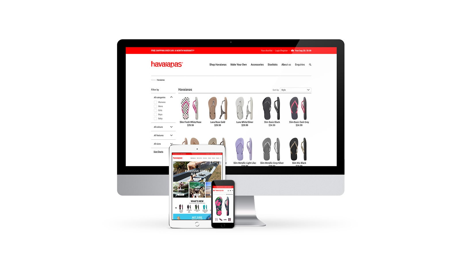 Havaianas | responsive eCommerce category and product pages on desktop, tablet and mobile  | Devotion