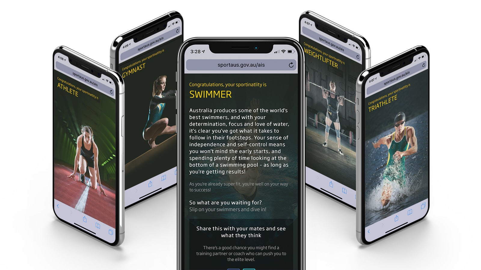 Australian Institute of Sport   'What Sportinality are you?' quiz results on mobile   Devotion