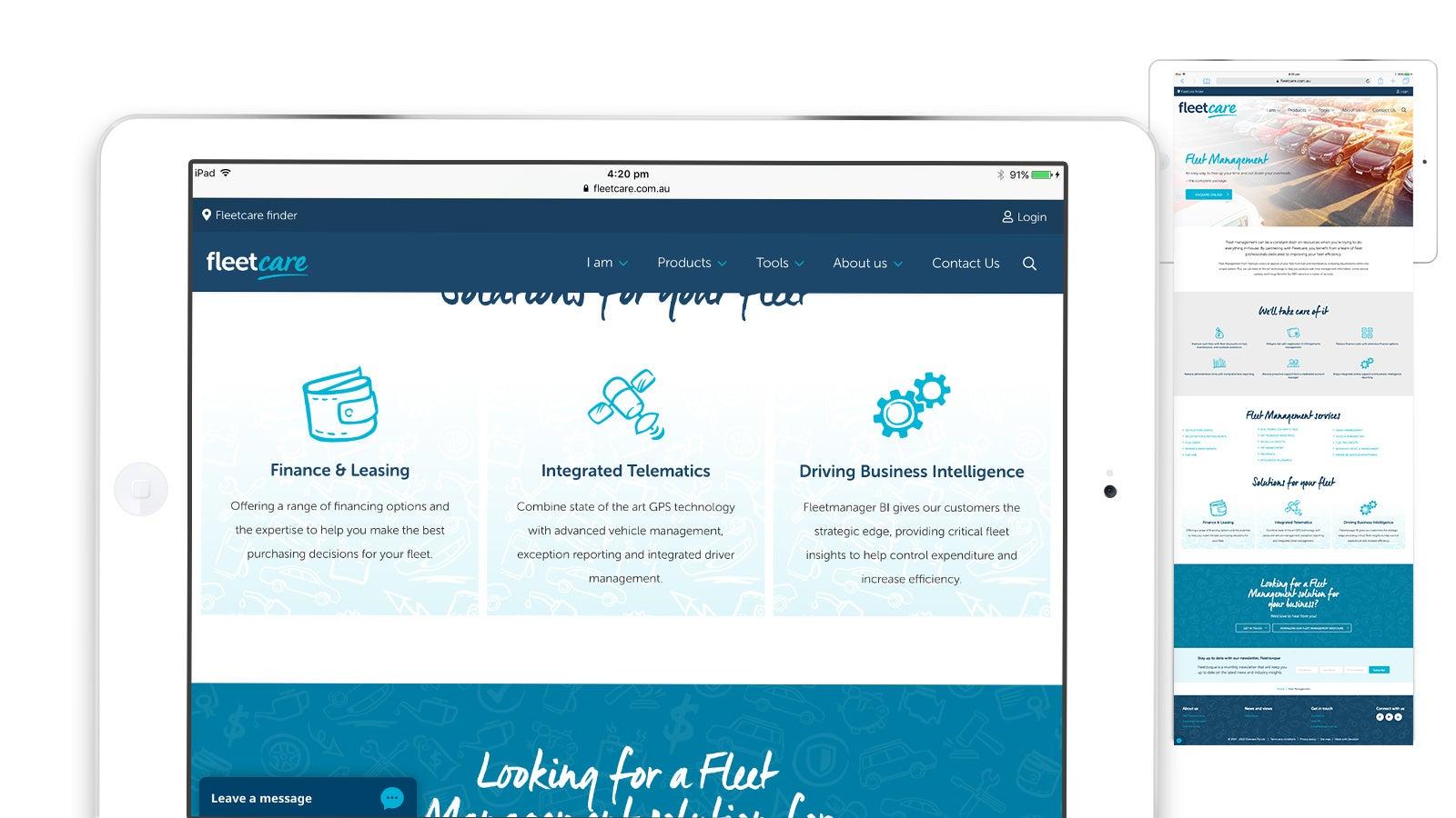 Fleetcare   Website homepage iPad   Devotion