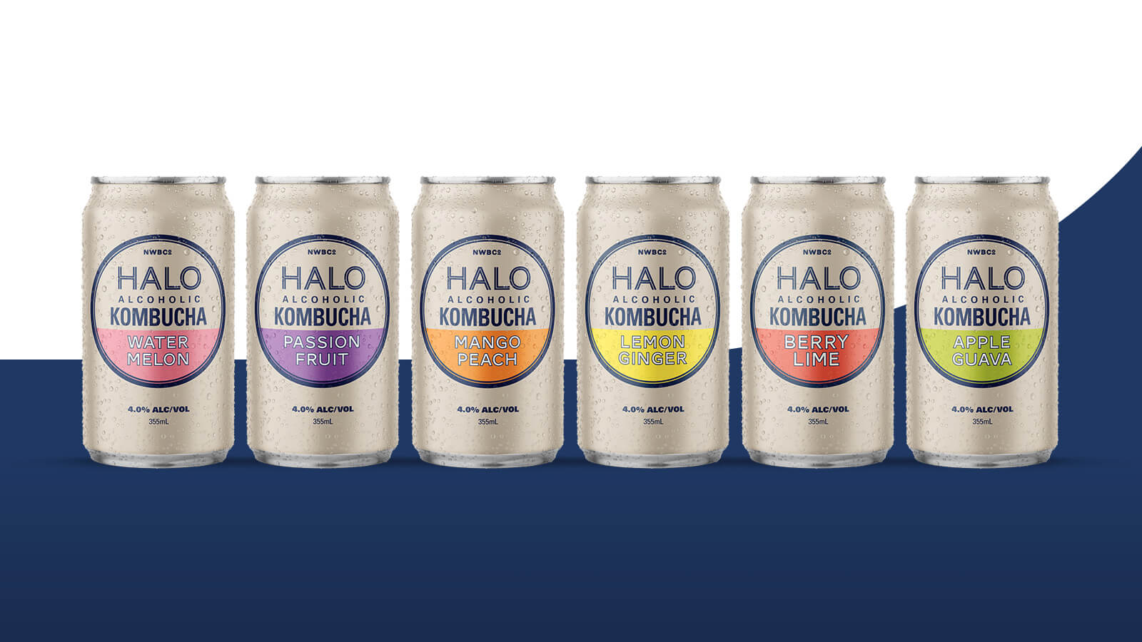 Halo Alcoholic Kombucha | Six HALO cans showing all flavours  | Devotion