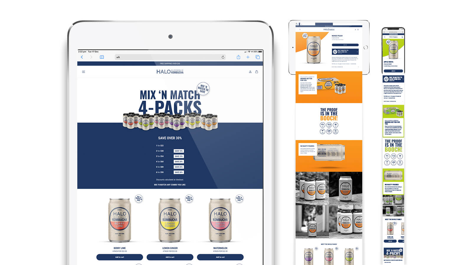 Halo Alcoholic Kombucha | Product detail page on tablet and mobile  | Devotion