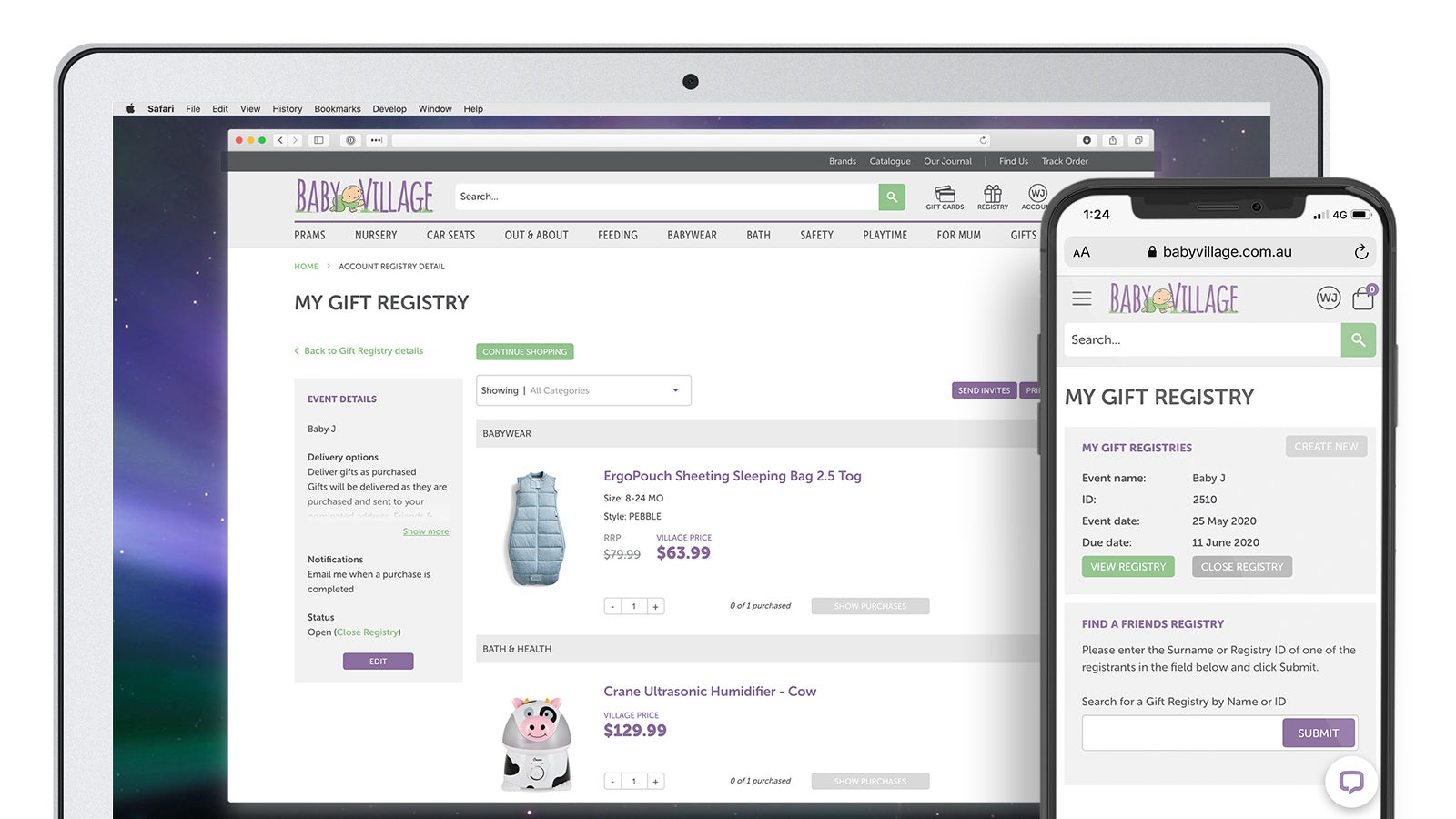 Baby Village | gift registry page on laptop and mobile | Devotion