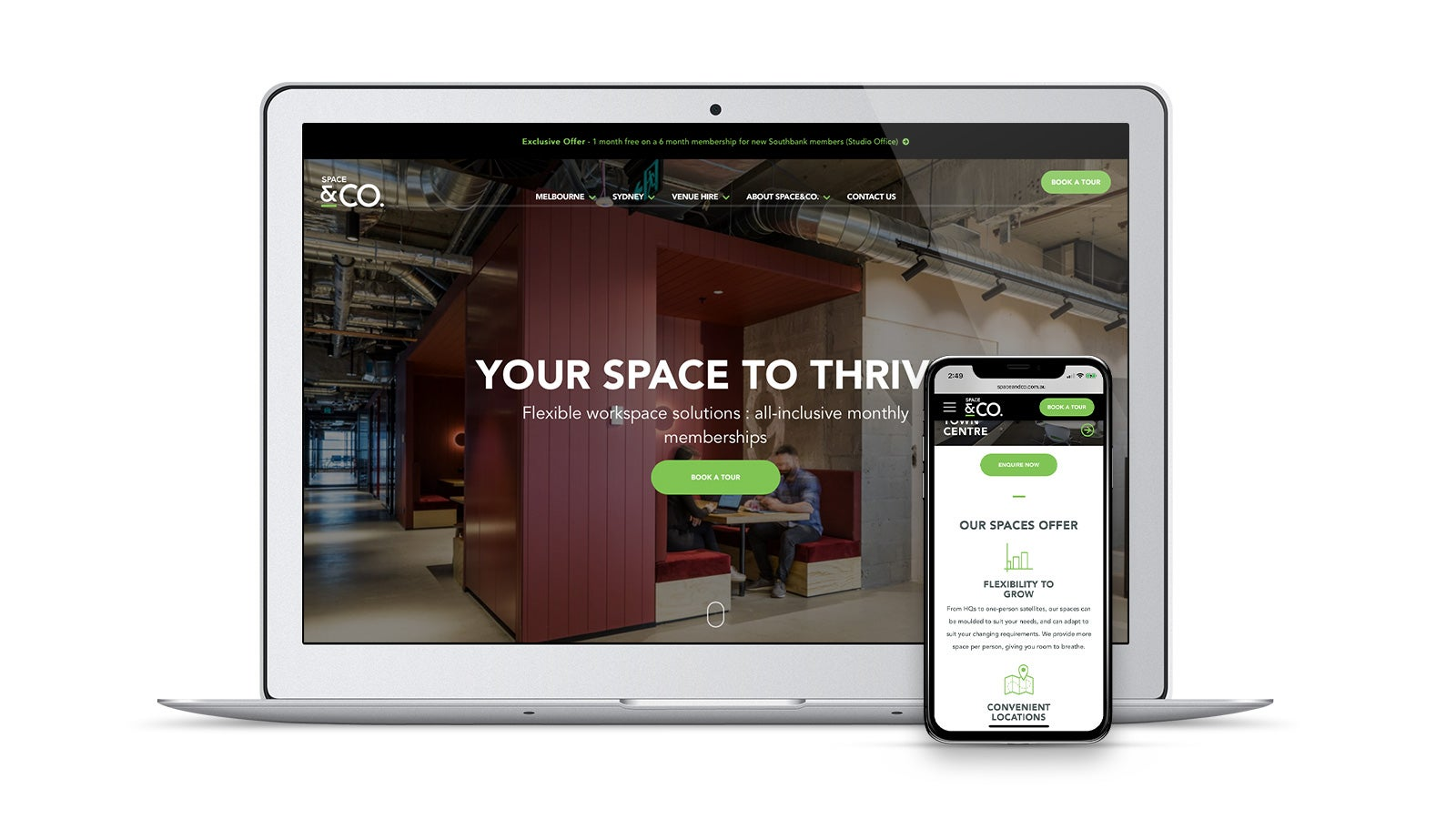 Space & Co. | responsive website on laptop and smartphone | Devotion