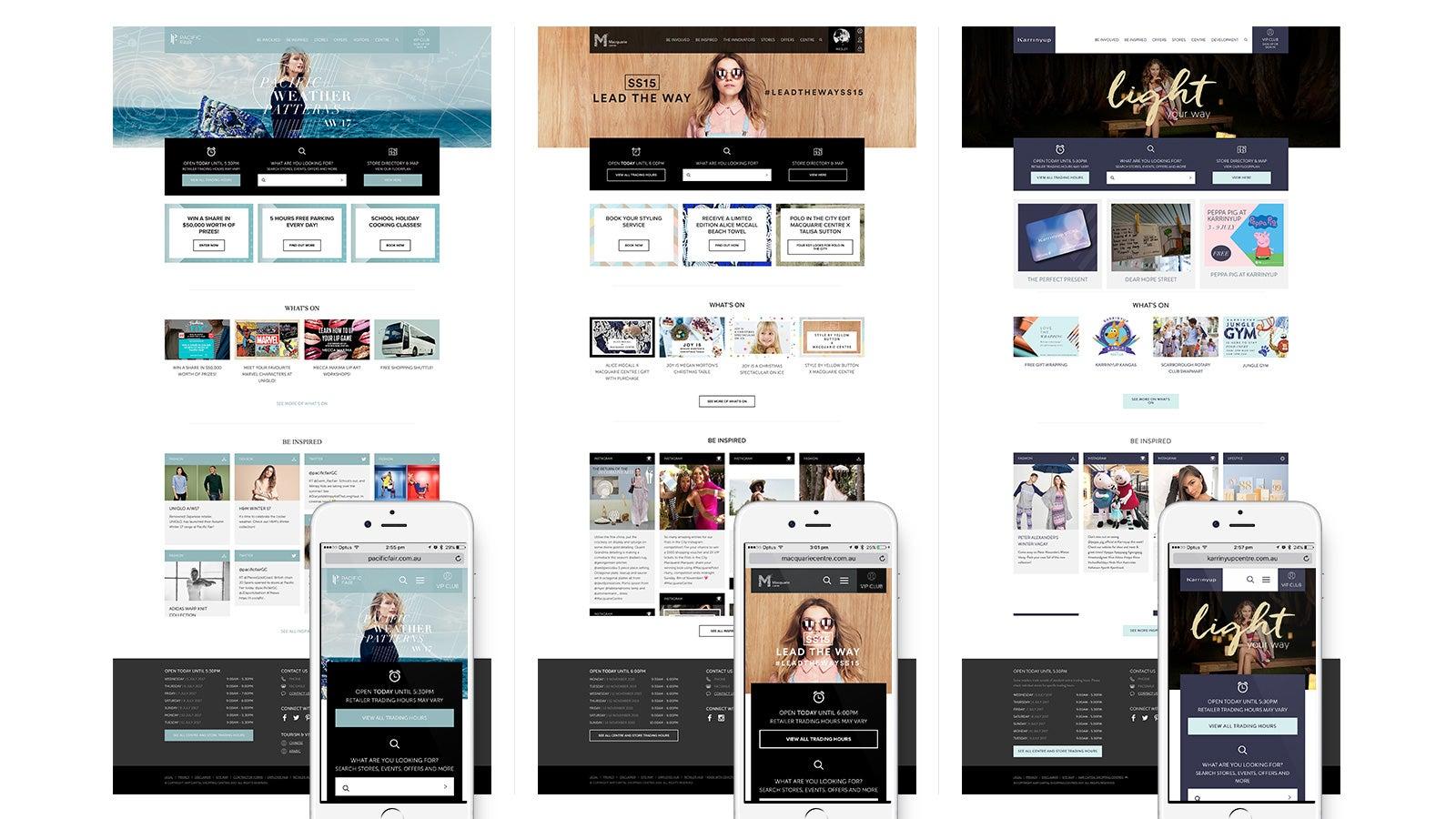AMP   Pacific Fair, Macquarie Centre, Karrinyup Shopping Centre mobile home pages   Devotion